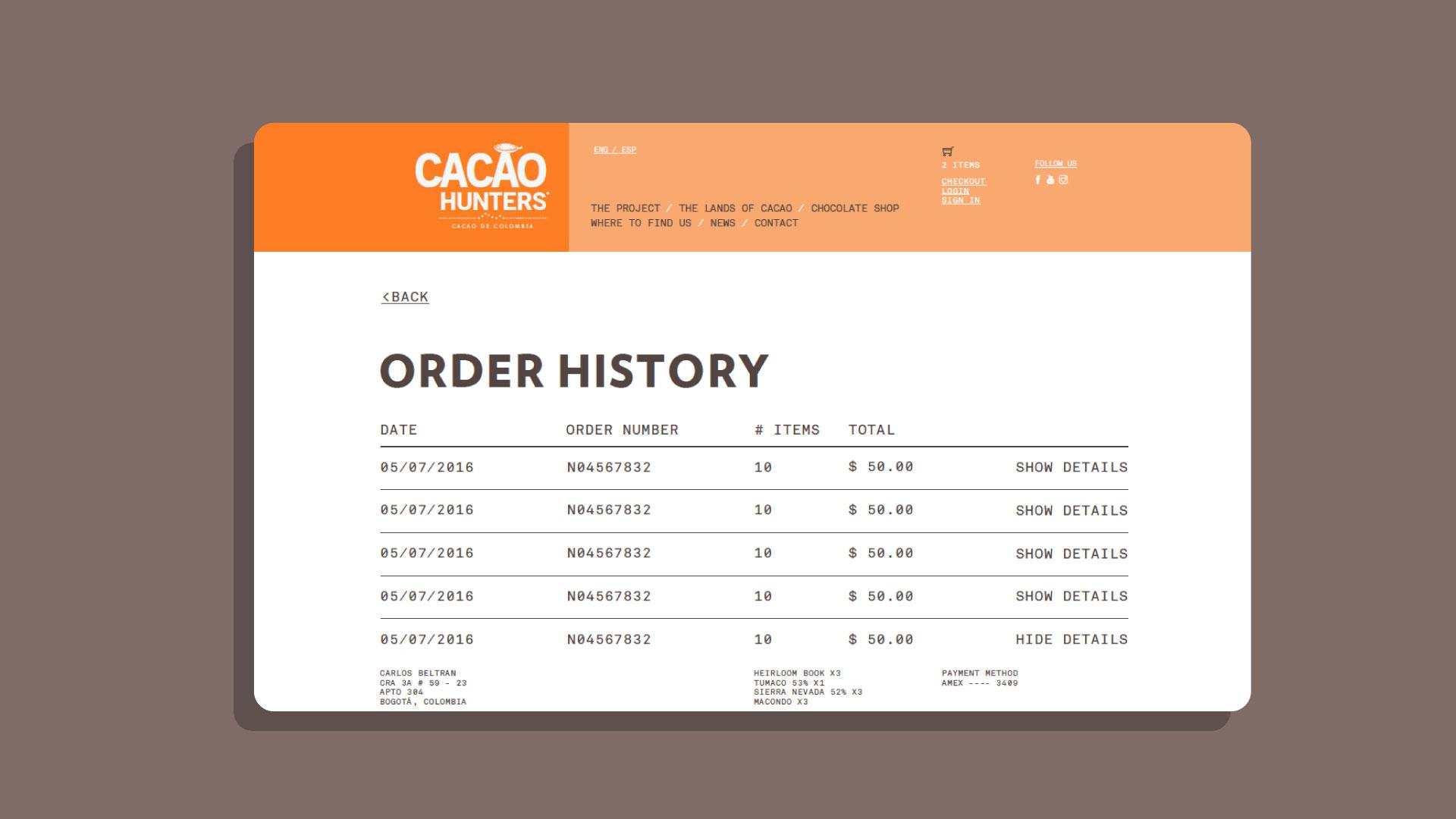 Cacao Hunters - Página web